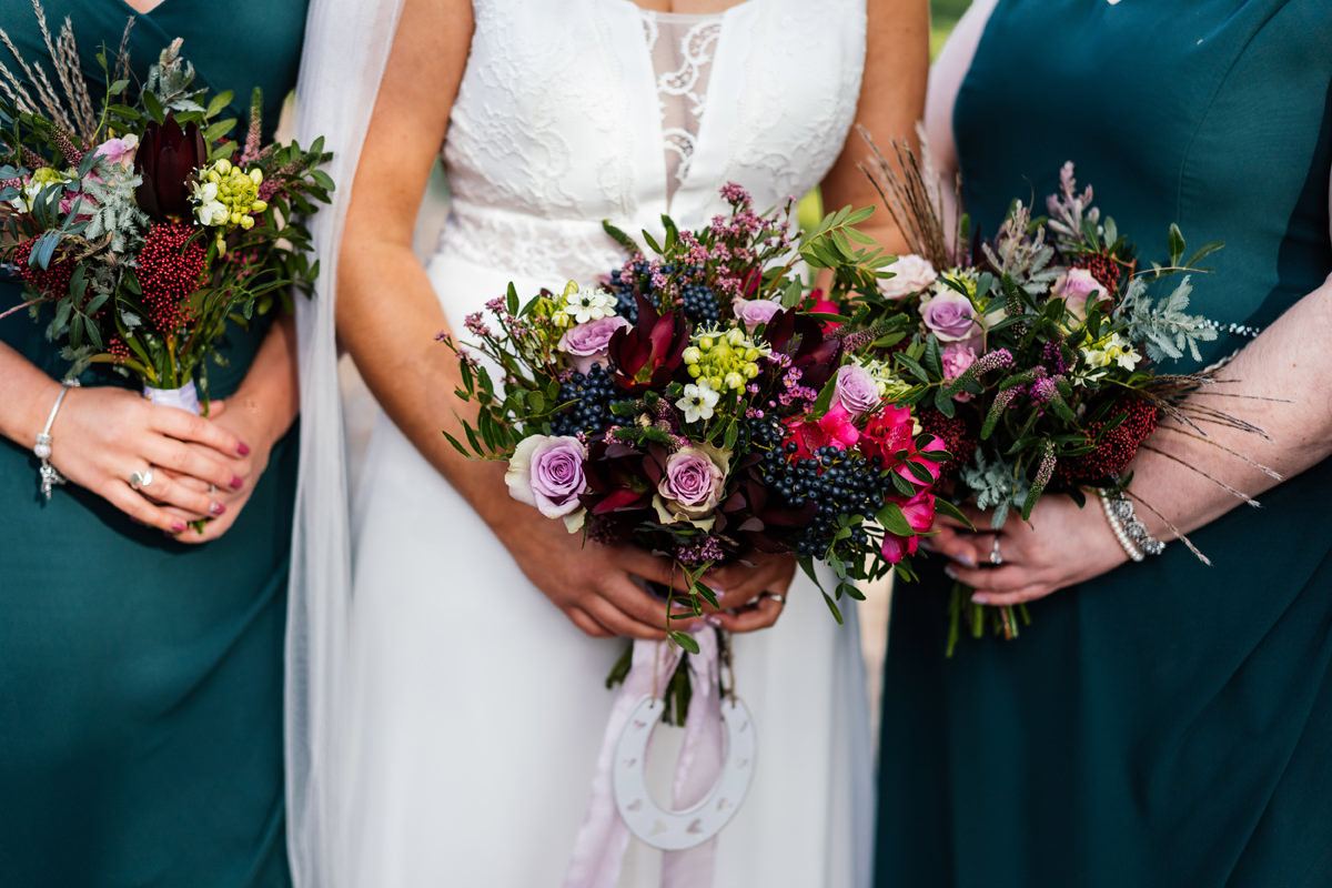 brides and bridesmaids bouquet of flowers
