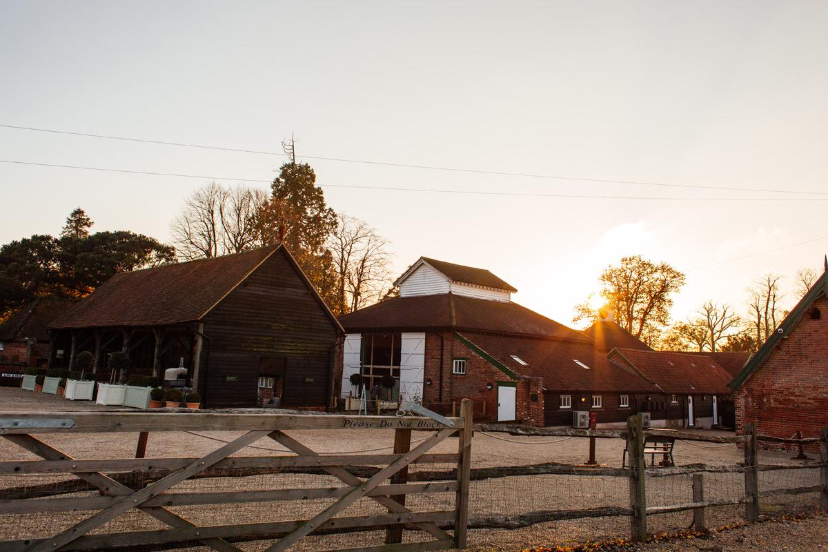 Gaynes Park wedding venue at sunset
