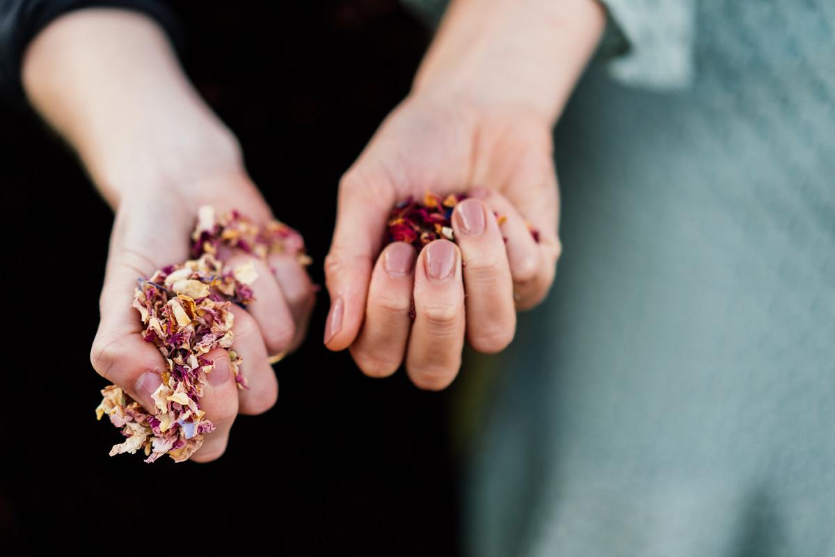 hands full of confetti