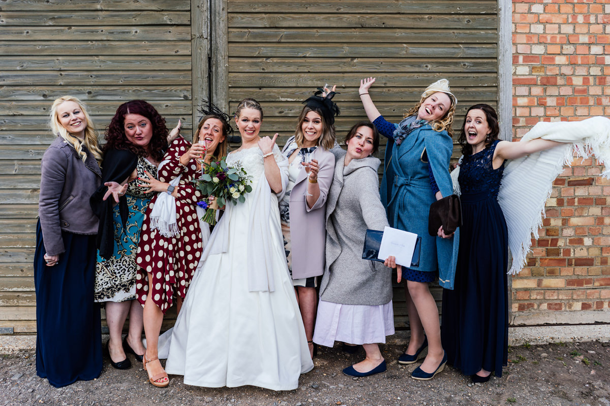 fun informal group photo of bride and friends