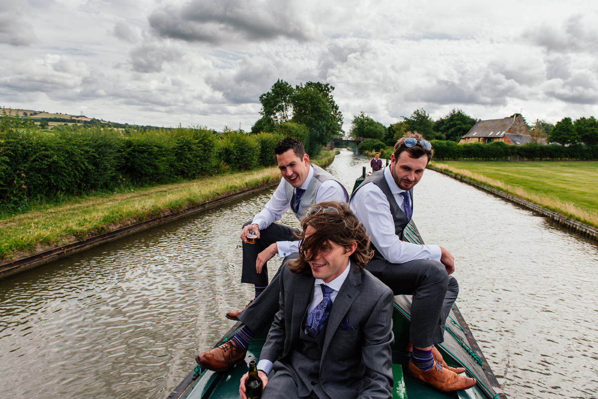 the boys arriving by canal barge!