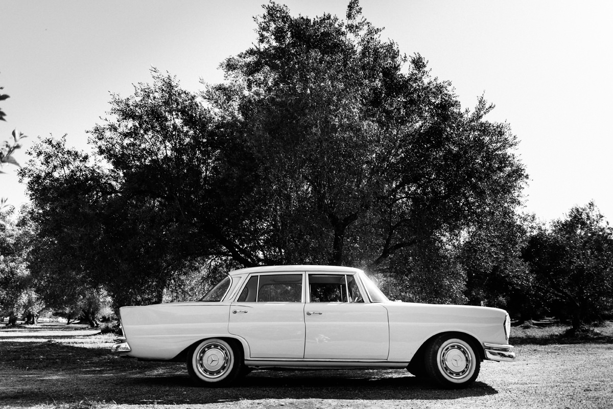 vintage wedding car on Kefalonia