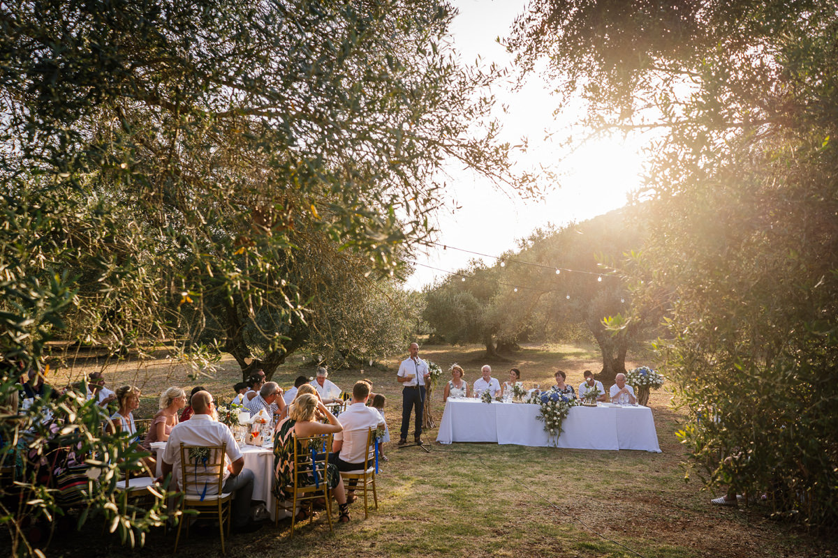 wedding speeches in the olive grove