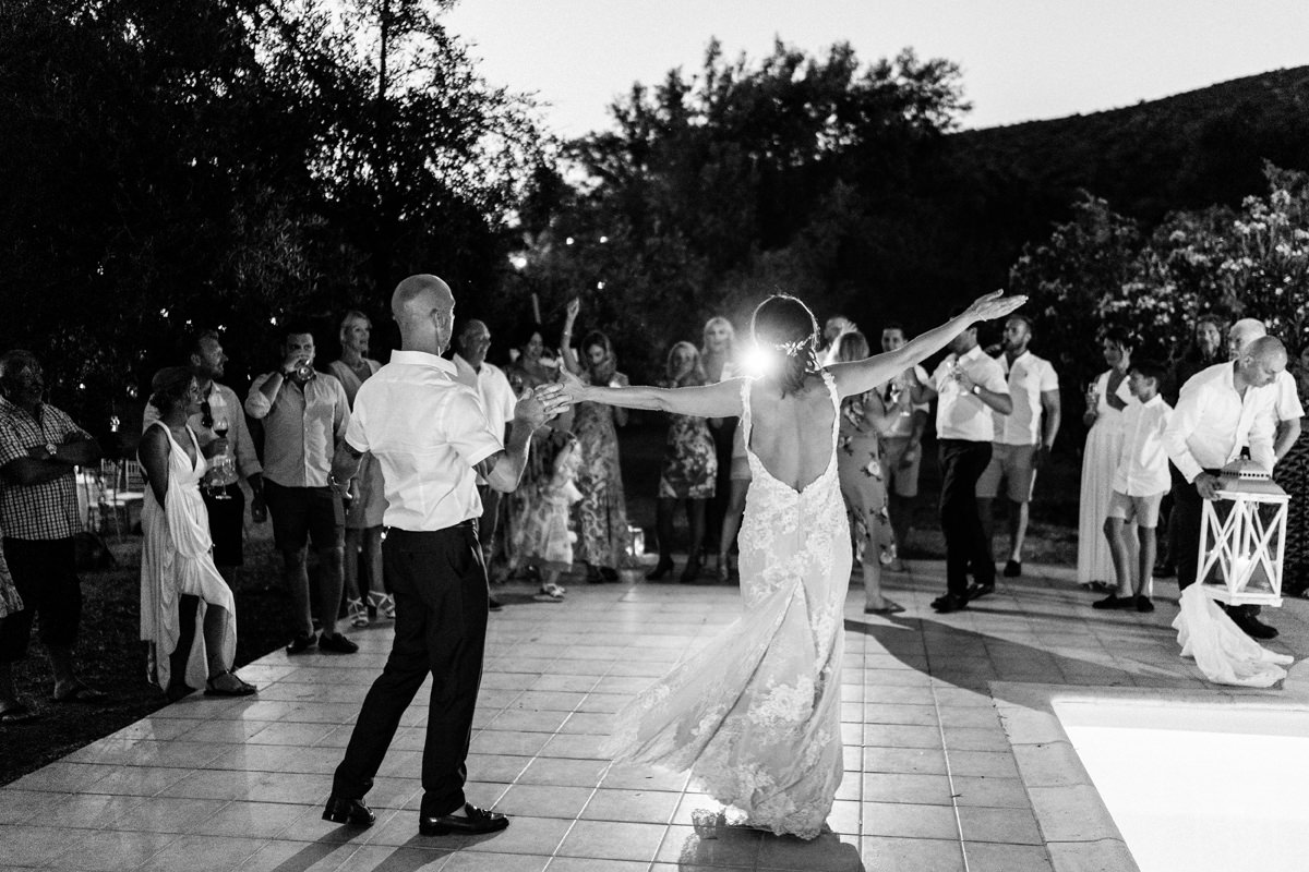 bride and groom first dance outside