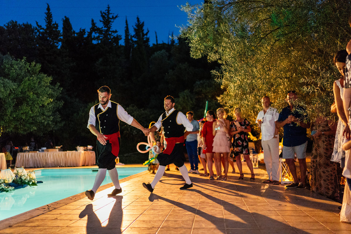 traditional greek dancing in the evening