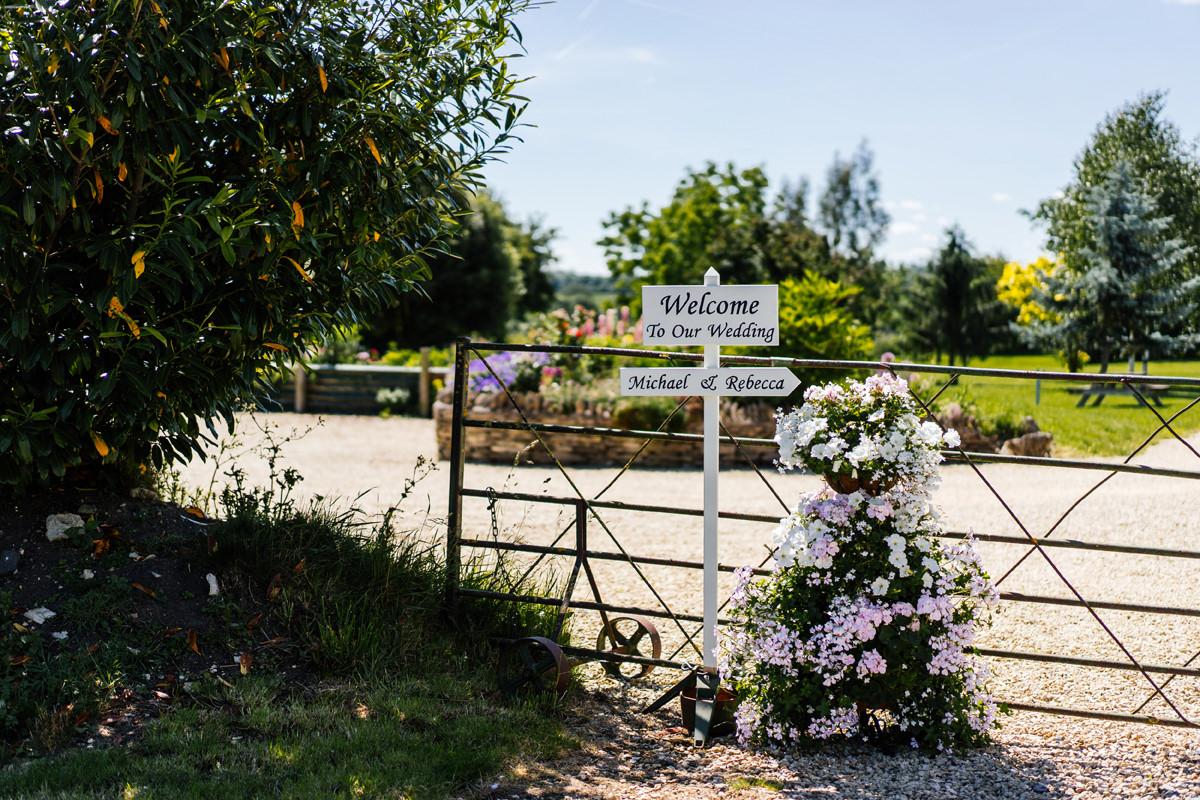 wedding signage at Huntsmill Farm wedding venue