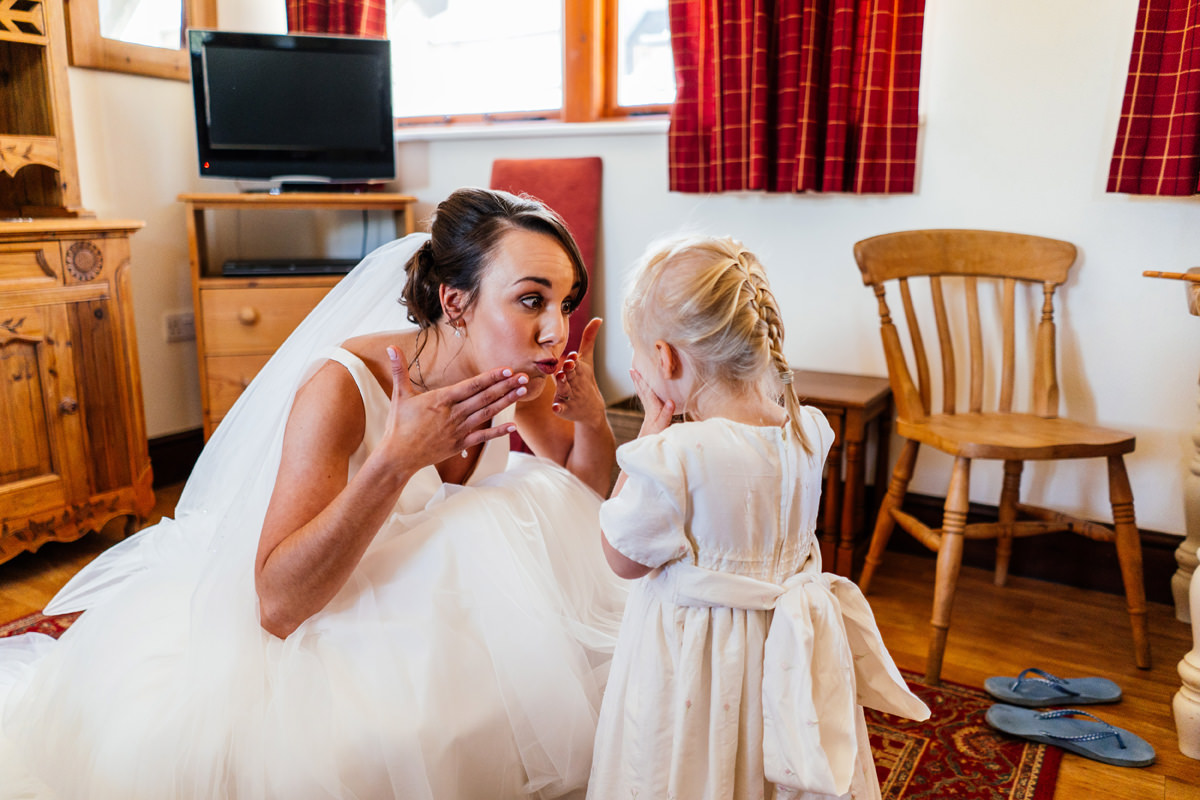 bride blowing kisses to flower girl once everyone is ready