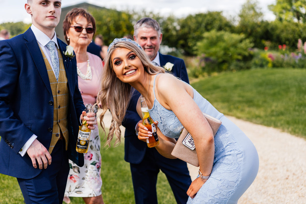 wedding guests having fun during the ceremony