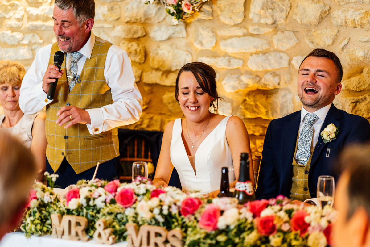 bride embarrassed by her dad during the speeches