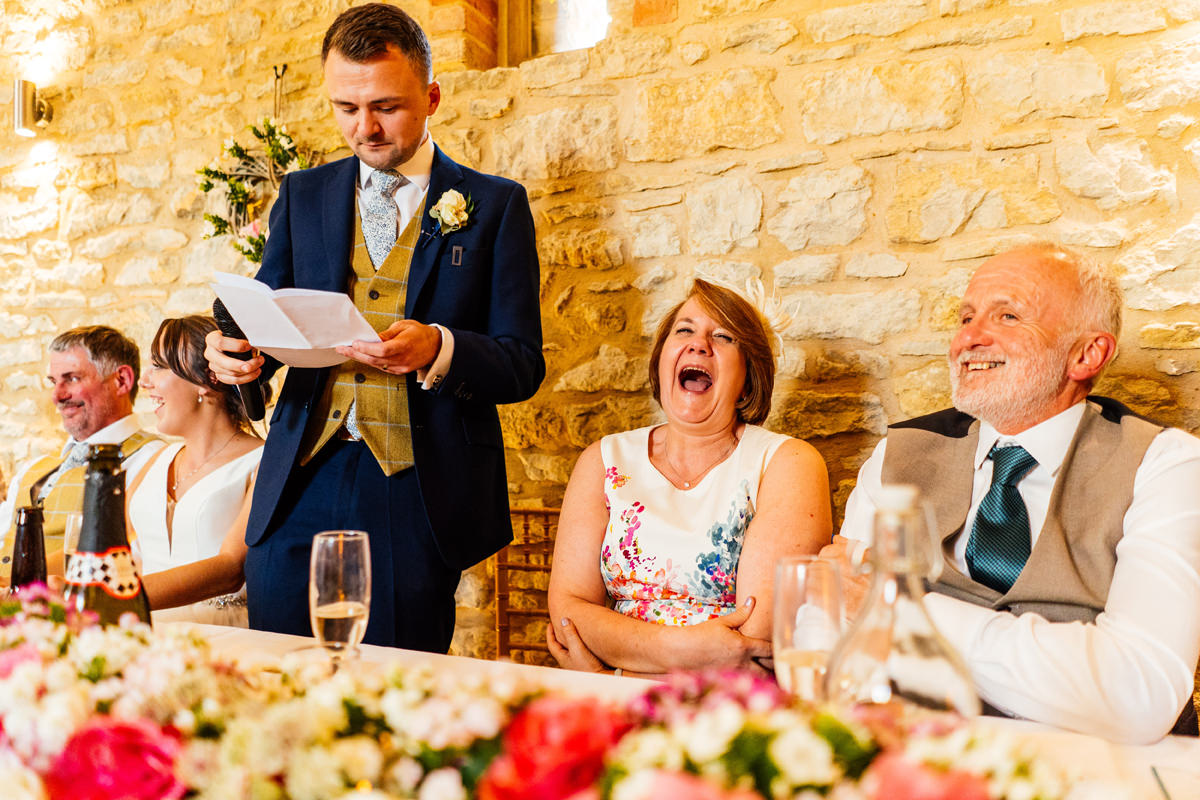 grooms speech makes the mother of the bride laugh