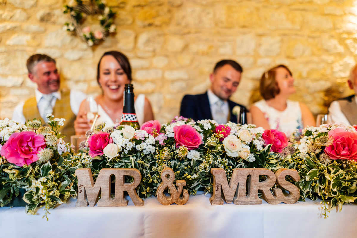 the wedding breakfast top table