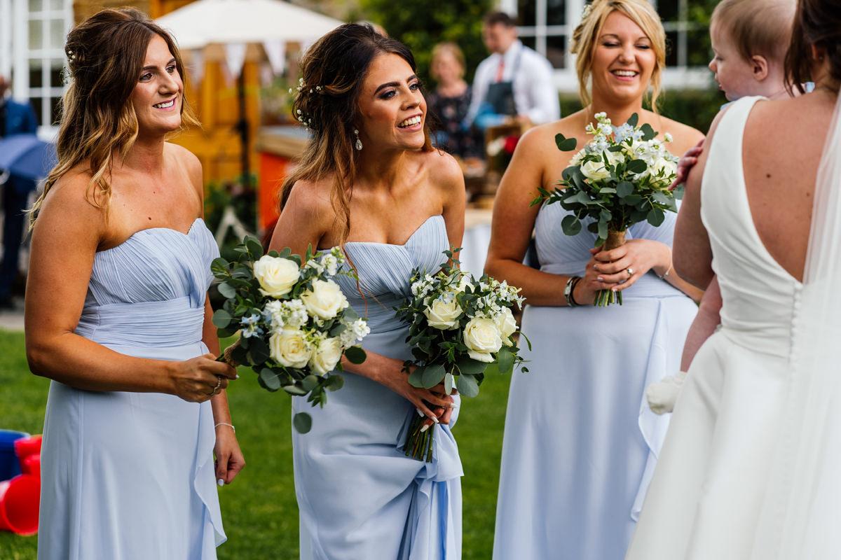 bridesmaids having fun during the drinks reception