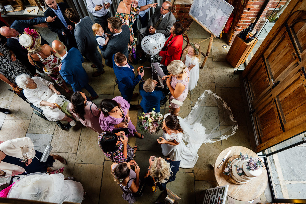 overhead photograph of drinks reception