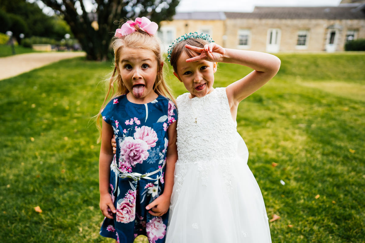 children pulling silly faces