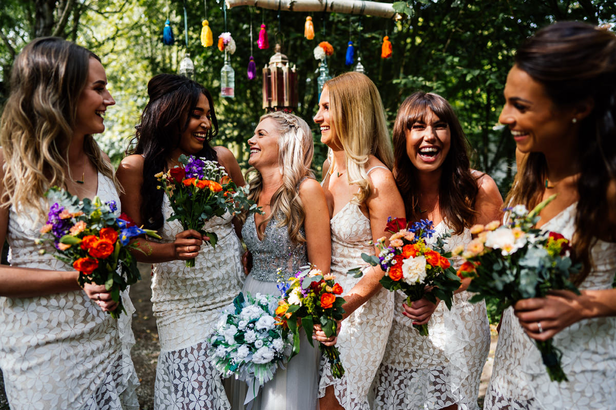 Bridesmaids group photo boho