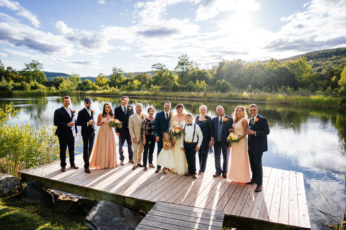 New England wedding formal family group photo