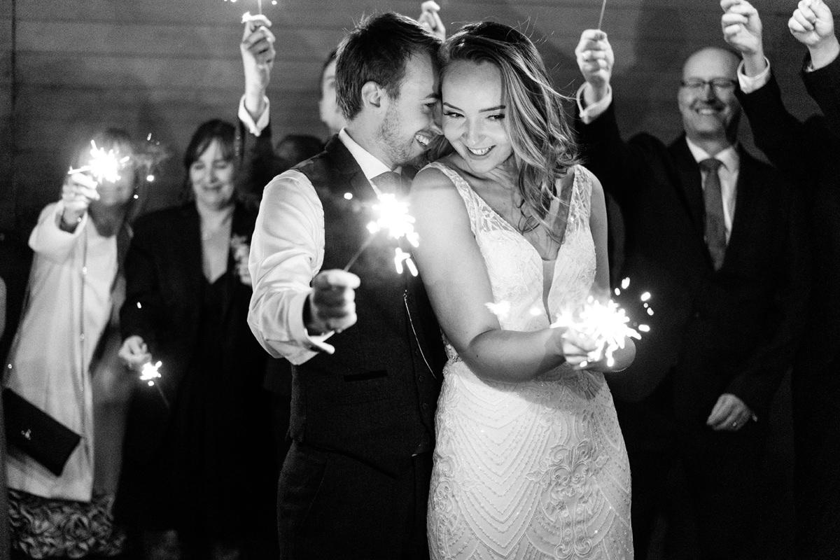 bride and groom sparklers