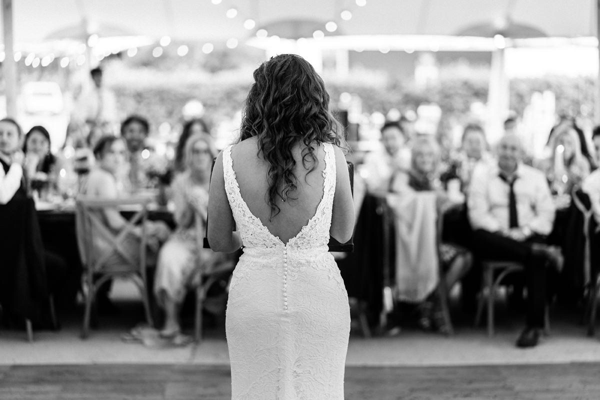 Bride gives a speech