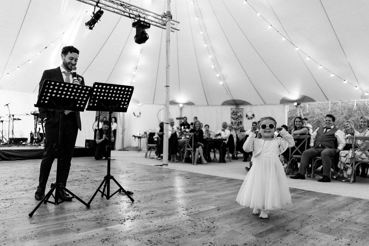 flower girl steals the show during groom speech