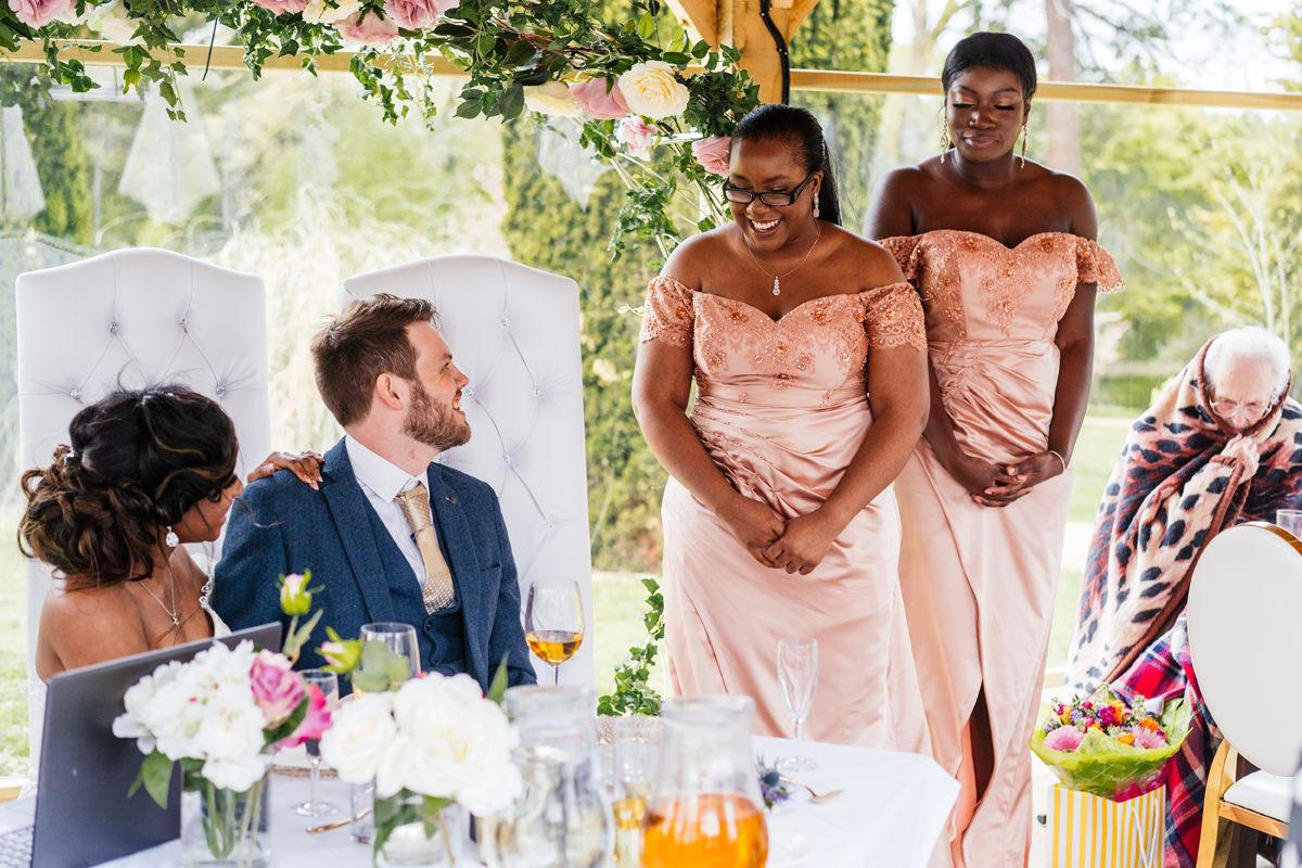 Bridesmaids giving their speech